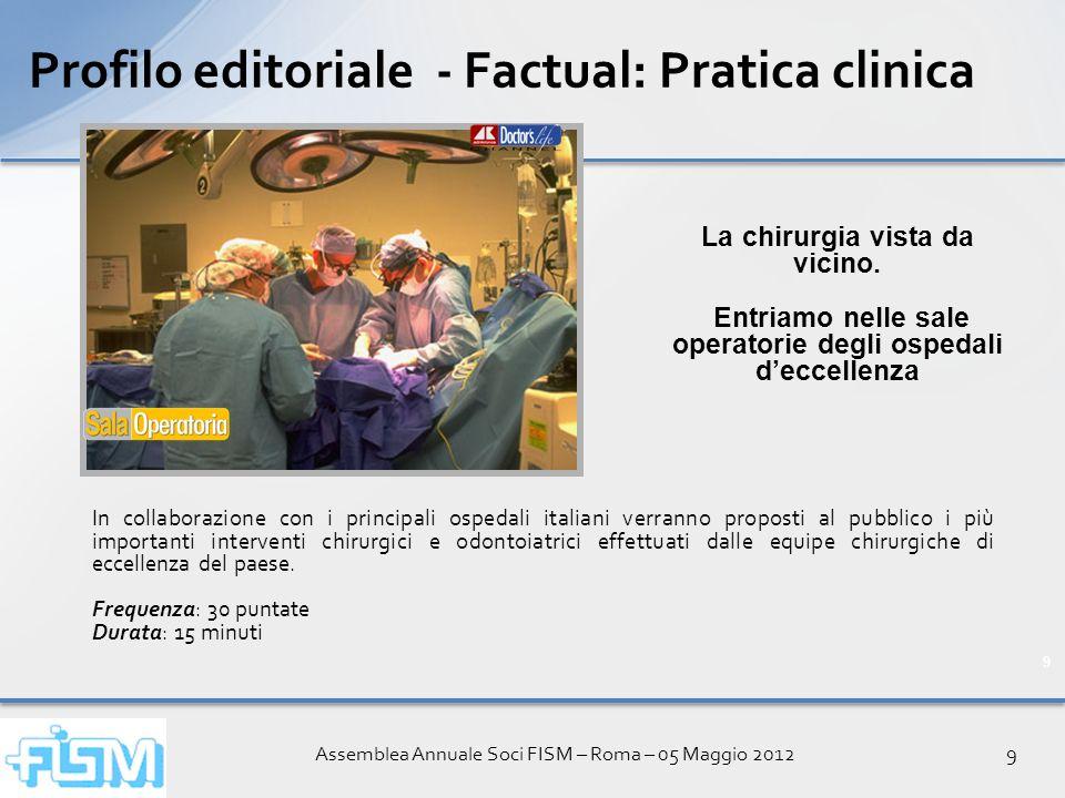 Assemblea Annuale Soci FISM – Roma – 05 Maggio 20129 9 Profilo editoriale - Factual: Pratica clinica In collaborazione con i principali ospedali itali