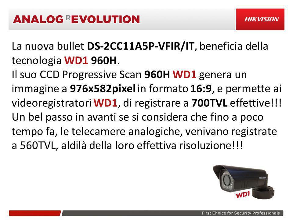 La nuova bullet DS-2CC11A5P-VFIR/IT, beneficia della tecnologia WD1 960H. Il suo CCD Progressive Scan 960H WD1 genera un immagine a 976x582pixel in fo