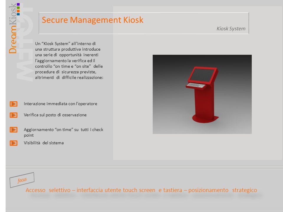 Secure Management Kiosk Kiosk System Accesso selettivo – interfaccia utente touch screen e tastiera – posizionamento strategico Un Kiosk System allint