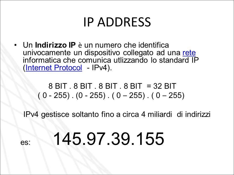 IP ADDRESS Un Indirizzo IP è un numero che identifica univocamente un dispositivo collegato ad una rete informatica che comunica utlizzando lo standard IP (Internet Protocol - IPv4).reteInternet Protocol 8 BIT.