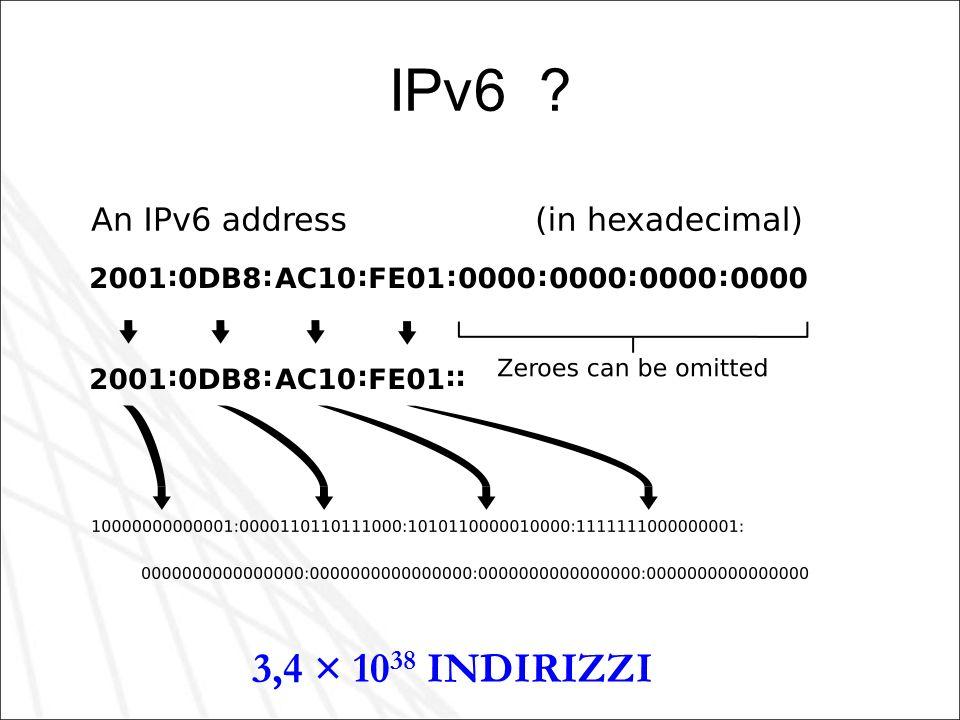 IPv6 ? 3,4 × 10 38 INDIRIZZI