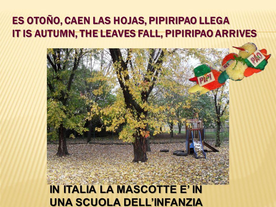 ES OTOÑO, CAEN LAS HOJAS, PIPIRIPAO LLEGA IT IS AUTUMN, THE LEAVES FALL, PIPIRIPAO ARRIVES IN ITALIA LA MASCOTTE E IN UNA SCUOLA DELLINFANZIA