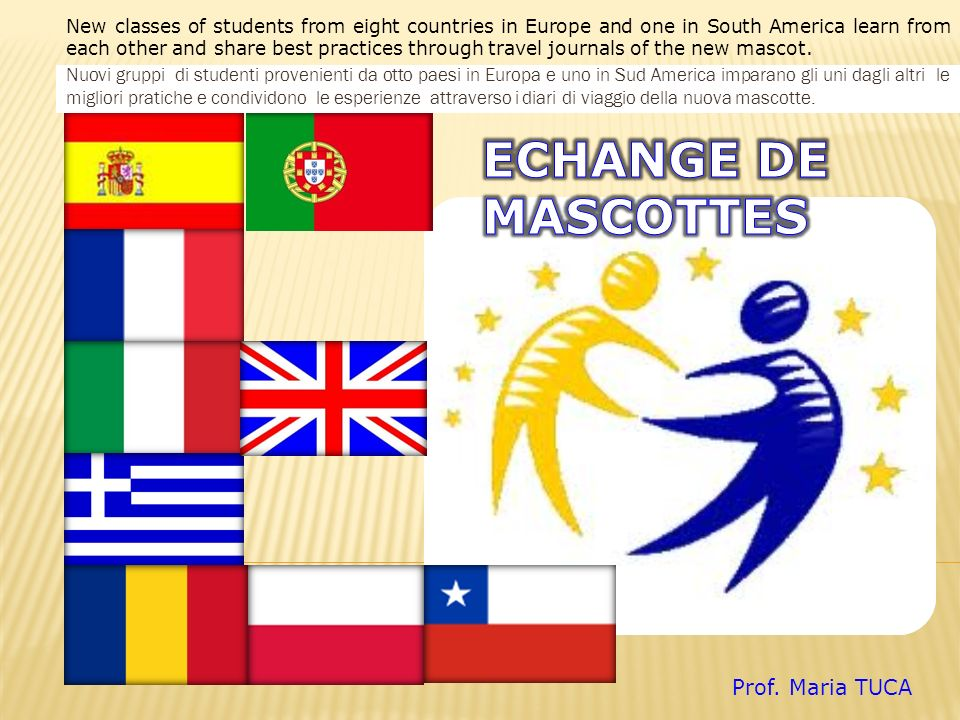 New classes of students from eight countries in Europe and one in South America learn from each other and share best practices through travel journals of the new mascot.