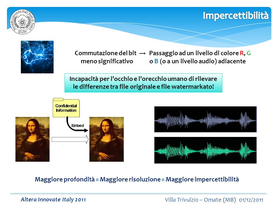 Altera Innovate Italy 2011 Villa Trivulzio – Omate (MB) 01/12/2011 Incapacità per locchio e lorecchio umano di rilevare le differenze tra file originale e file watermarkato.