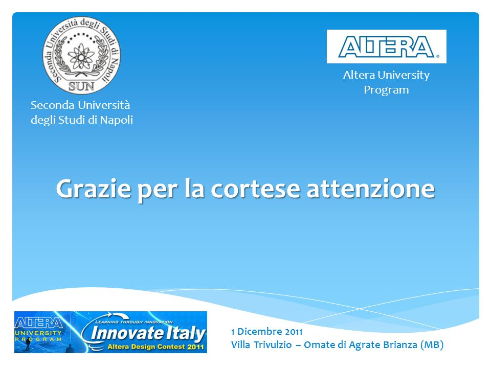 1 Dicembre 2011 Villa Trivulzio – Omate di Agrate Brianza (MB) Seconda Università degli Studi di Napoli Altera University Program Grazie per la cortese attenzione