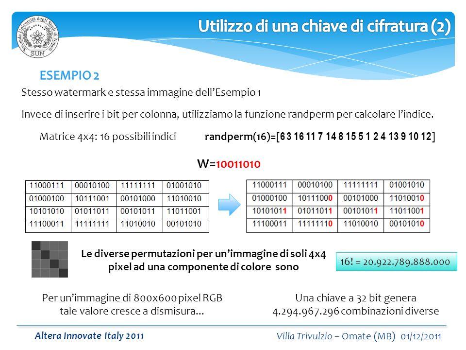 Altera Innovate Italy 2011 Villa Trivulzio – Omate (MB) 01/12/2011 Stesso watermark e stessa immagine dellEsempio 1 W=10011010 Matrice 4x4: 16 possibili indici Invece di inserire i bit per colonna, utilizziamo la funzione randperm per calcolare lindice.