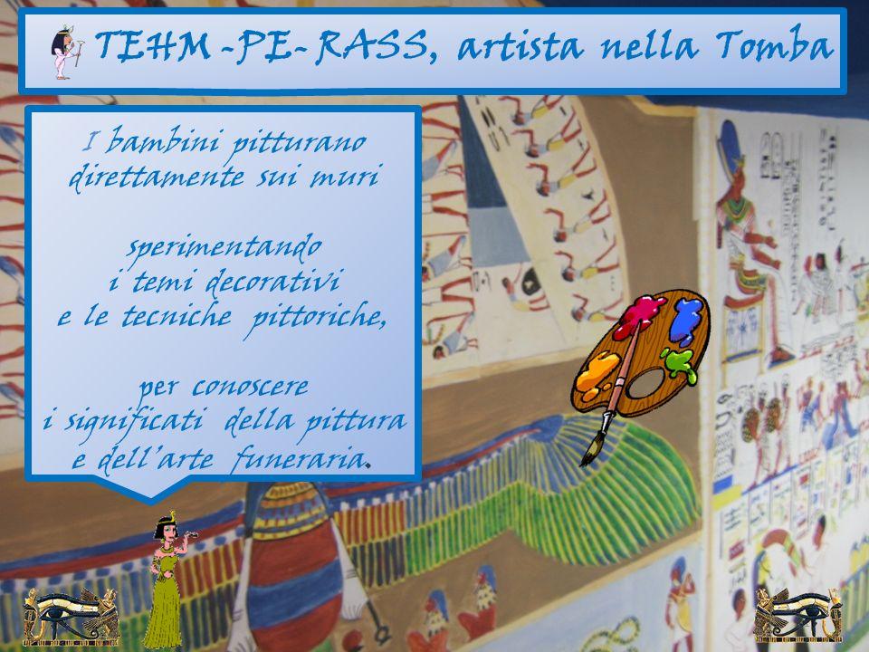 14 I bambini imparano i rudimenti della scrittura su coccio, su papiro, con inchiostro e stilo… costruiscono il papiro personale con garze, colle, fon