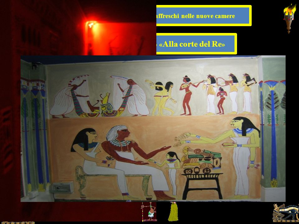 6 Particolari di alcuni affreschi del nucleo originario della tomba (la camera funeraria) dipinti dai bambini,. dal ciclo pittorico « Vita di Sethi ».