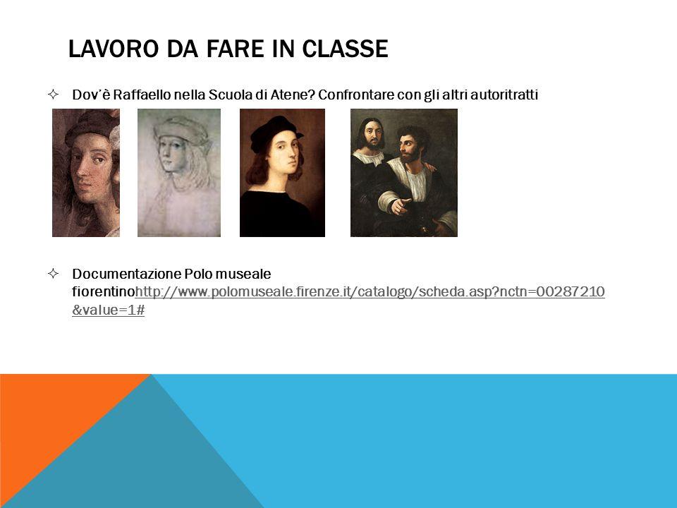 LAVORO DA FARE IN CLASSE Dovè Raffaello nella Scuola di Atene.