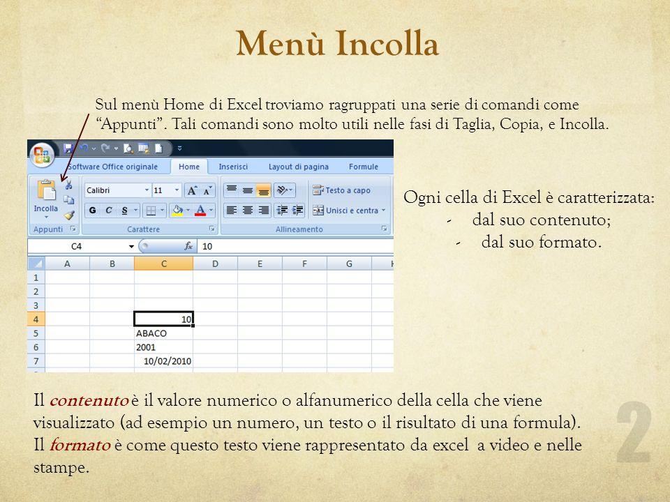 Menù Incolla Sul menù Home di Excel troviamo ragruppati una serie di comandi come Appunti.