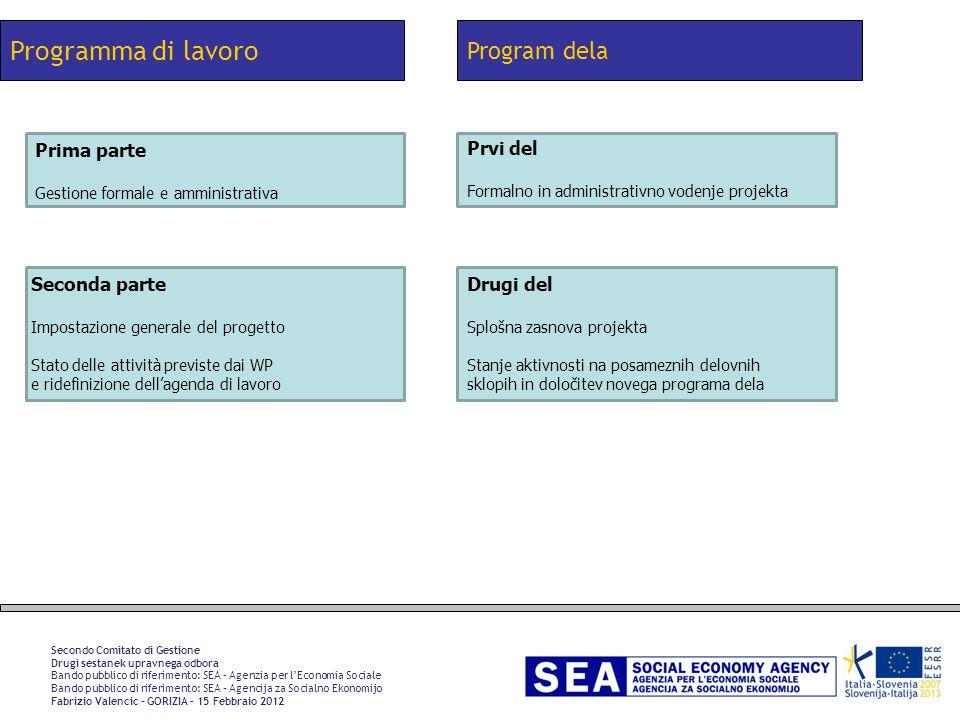 Programma di lavoro Secondo Comitato di Gestione Drugi sestanek upravnega odbora Bando pubblico di riferimento: SEA – Agenzia per lEconomia Sociale Ba