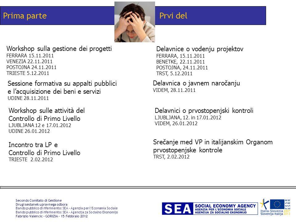 Prvi delPrima parte Secondo Comitato di Gestione Drugi sestanek upravnega odbora Bando pubblico di riferimento: SEA – Agenzia per lEconomia Sociale Ba