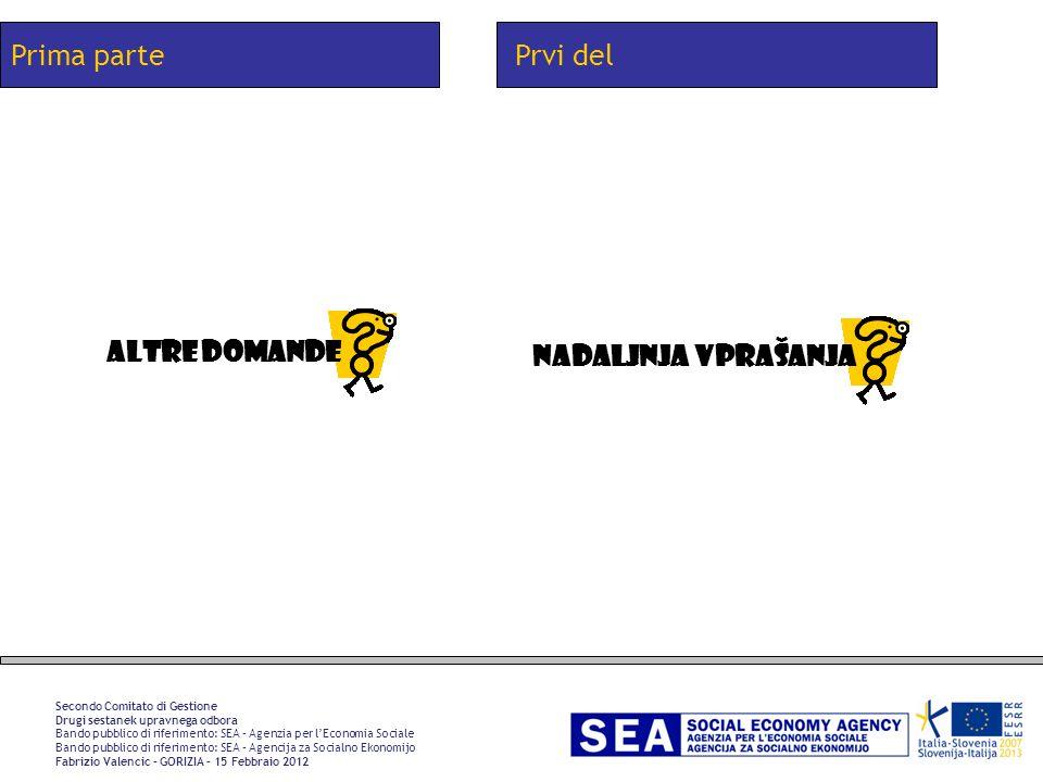 Prima parte Secondo Comitato di Gestione Drugi sestanek upravnega odbora Bando pubblico di riferimento: SEA – Agenzia per lEconomia Sociale Bando pubb