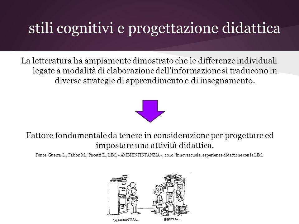 stili cognitivi e progettazione didattica La letteratura ha ampiamente dimostrato che le differenze individuali legate a modalità di elaborazione dell informazione si traducono in diverse strategie di apprendimento e di insegnamento.