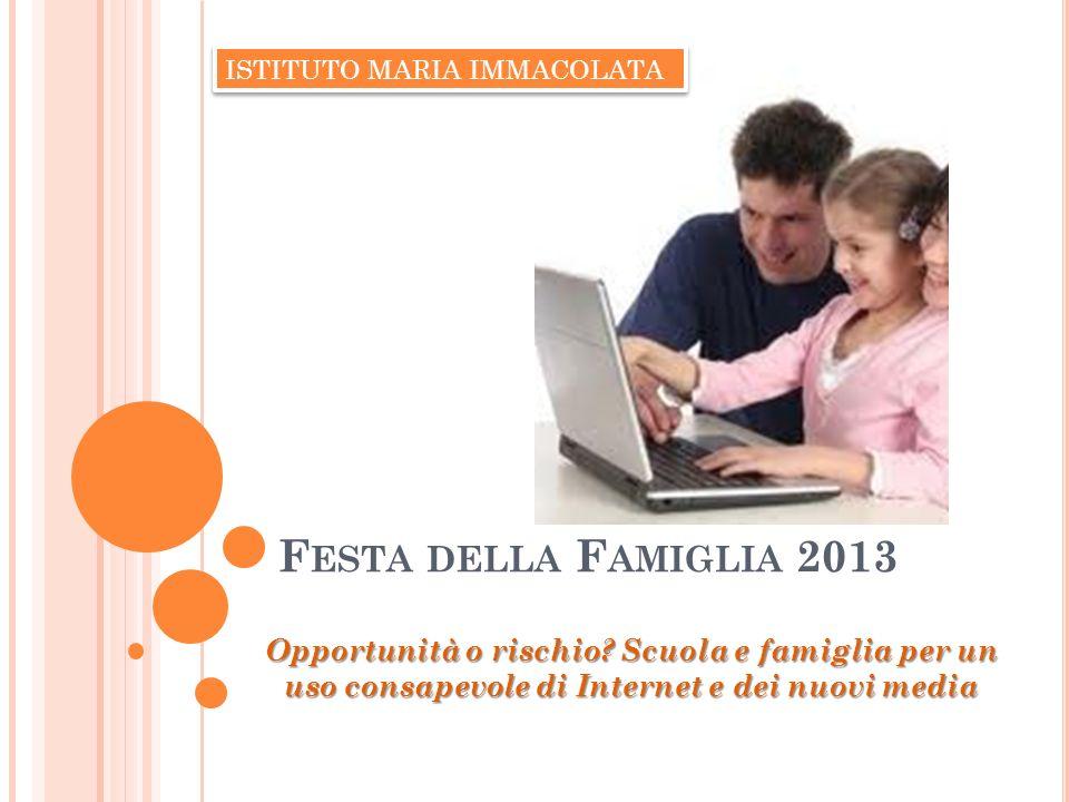 F ESTA DELLA F AMIGLIA 2013 Opportunità o rischio? Scuola e famiglia per un uso consapevole di Internet e dei nuovi media ISTITUTO MARIA IMMACOLATA