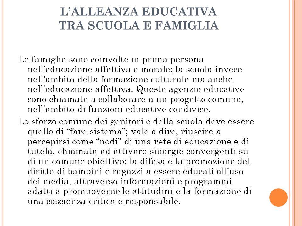 LALLEANZA EDUCATIVA TRA SCUOLA E FAMIGLIA Le famiglie sono coinvolte in prima persona nelleducazione affettiva e morale; la scuola invece nellambito della formazione culturale ma anche nelleducazione affettiva.