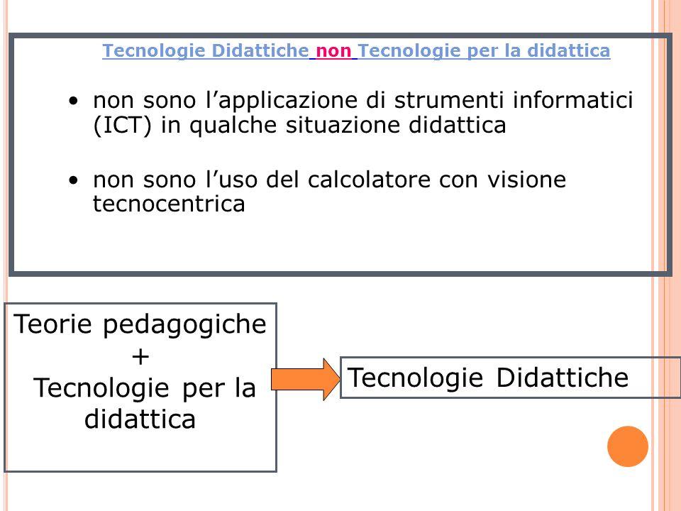 Tecnologie Didattiche non Tecnologie per la didattica non sono lapplicazione di strumenti informatici (ICT) in qualche situazione didattica non sono l