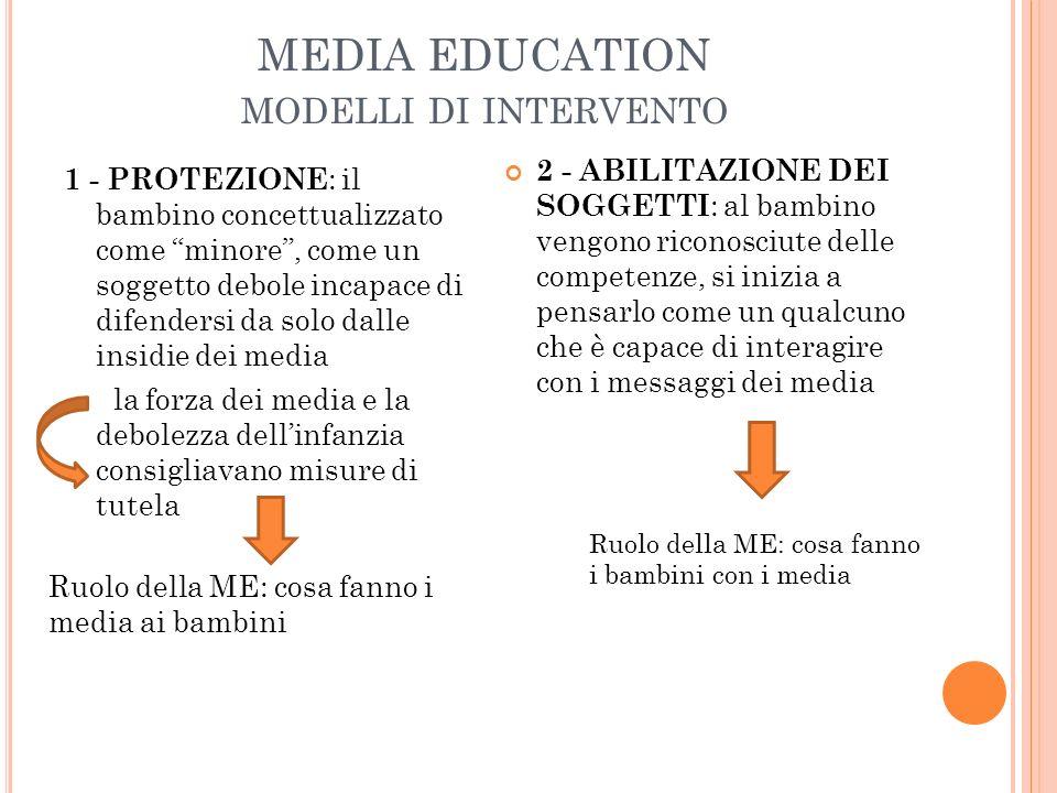 MEDIA EDUCATION MODELLI DI INTERVENTO 1 - PROTEZIONE : il bambino concettualizzato come minore, come un soggetto debole incapace di difendersi da solo