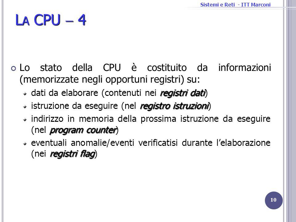 Sistemi e Reti - ITT Marconi L A CPU 4 Lo stato della CPU è costituito da informazioni (memorizzate negli opportuni registri) su: registri dati dati d