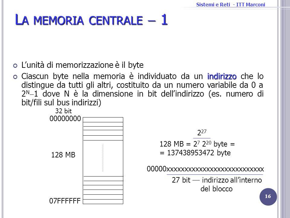 Sistemi e Reti - ITT Marconi L A MEMORIA CENTRALE 1 Lunità di memorizzazione è il byte indirizzo Ciascun byte nella memoria è individuato da un indiri