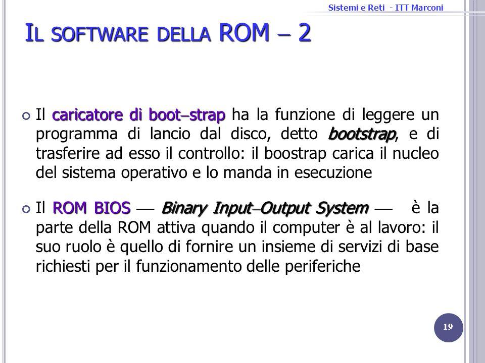Sistemi e Reti - ITT Marconi I L SOFTWARE DELLA ROM 2 caricatore di boot strap bootstrap Il caricatore di boot strap ha la funzione di leggere un prog