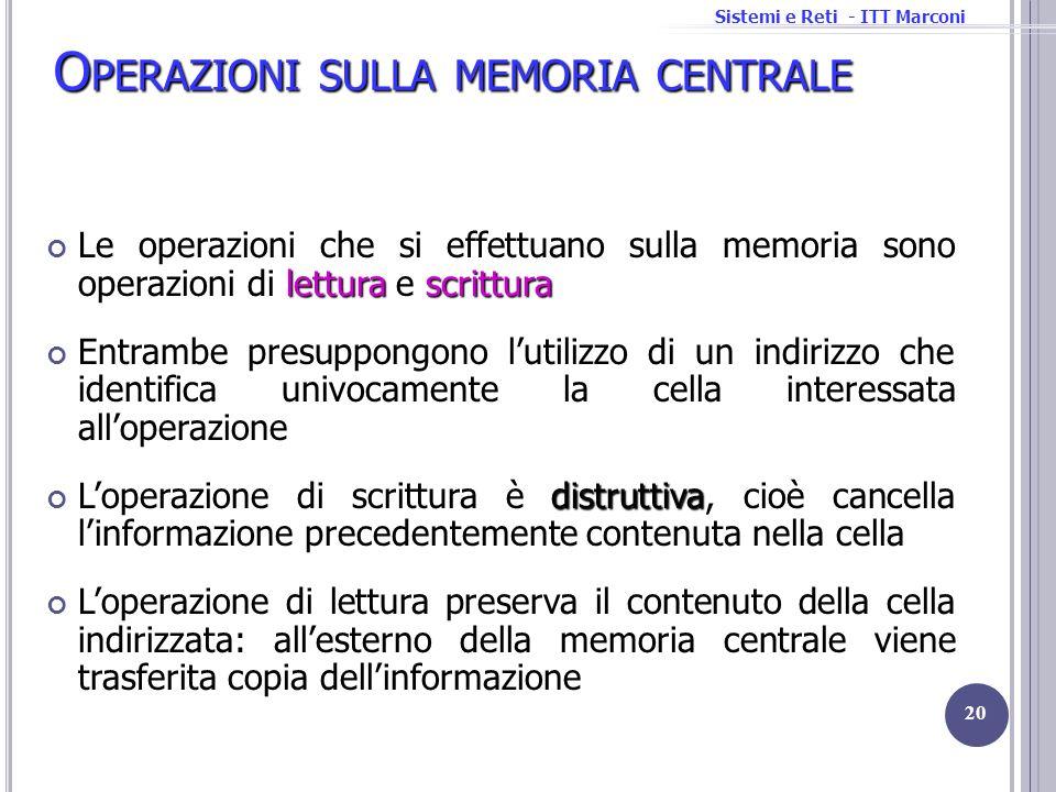 Sistemi e Reti - ITT Marconi O PERAZIONI SULLA MEMORIA CENTRALE letturascrittura Le operazioni che si effettuano sulla memoria sono operazioni di lett