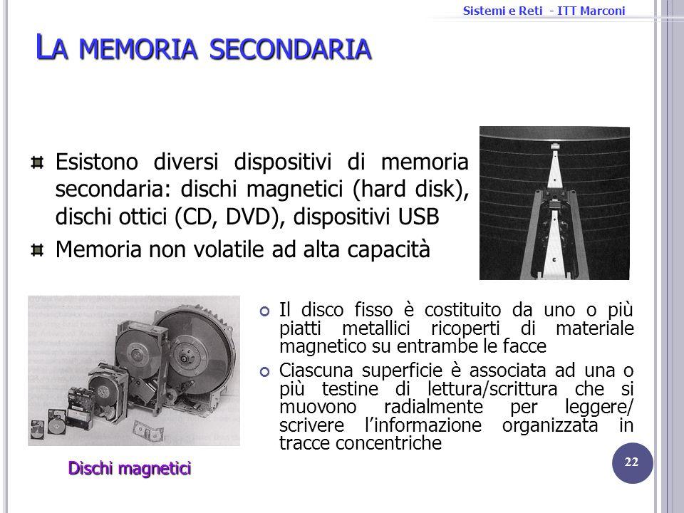Sistemi e Reti - ITT Marconi L A MEMORIA SECONDARIA Il disco fisso è costituito da uno o più piatti metallici ricoperti di materiale magnetico su entr