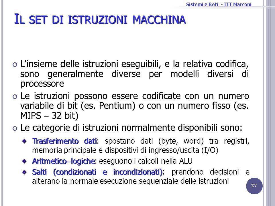 Sistemi e Reti - ITT Marconi I L SET DI ISTRUZIONI MACCHINA Linsieme delle istruzioni eseguibili, e la relativa codifica, sono generalmente diverse pe
