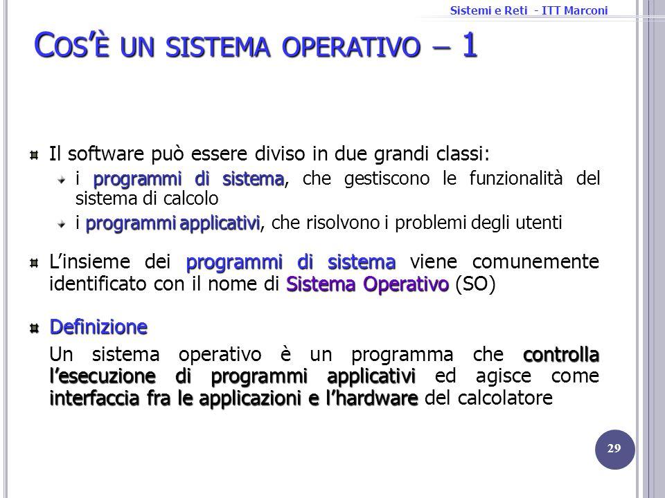 Sistemi e Reti - ITT Marconi C OS È UN SISTEMA OPERATIVO 1 Il software può essere diviso in due grandi classi: programmi di sistema i programmi di sis