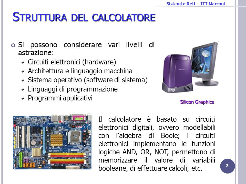 Sistemi e Reti - ITT Marconi S TRUTTURA DEL CALCOLATORE Si possono considerare vari livelli di astrazione: Circuiti elettronici (hardware) Architettur