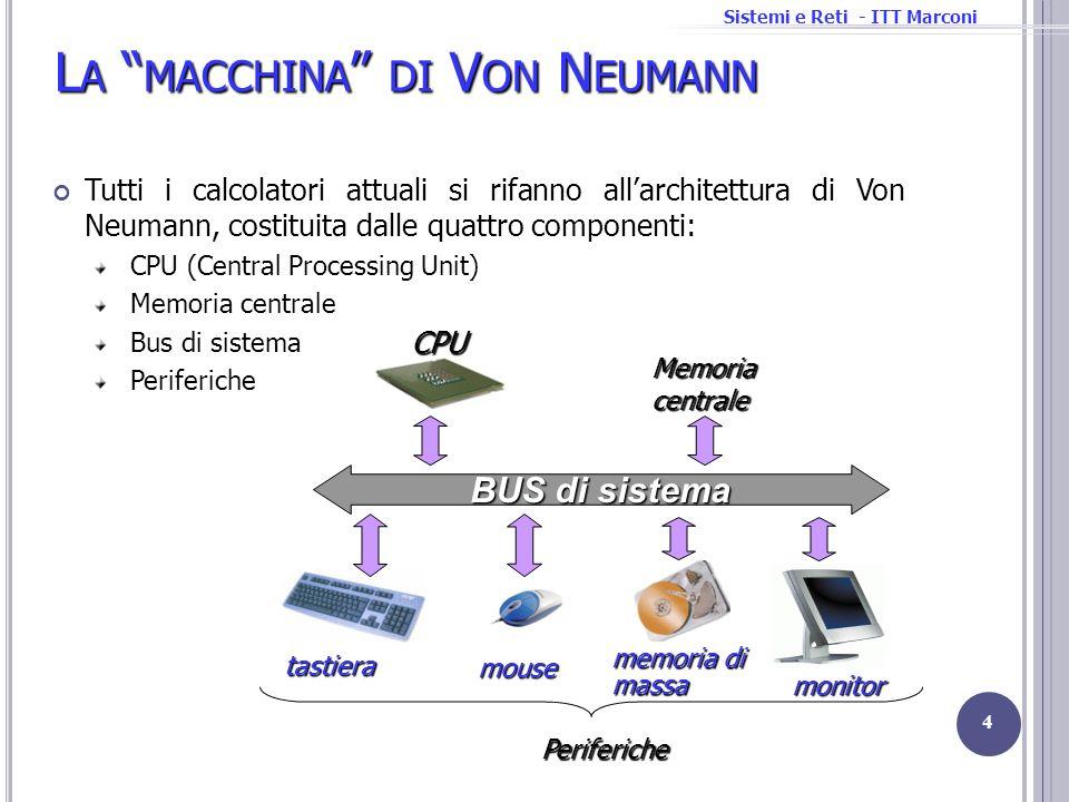 Sistemi e Reti - ITT Marconi I DISPOSITIVI DI I NPUT O UTPUT Comportamento Comportamento: Input (read once), output (write only), memoria (rilettura/riscrittura) Partner Partner: uomo o macchina Velocità del flusso dei dati Velocità del flusso dei dati: quantità di dati trasferiti nellunità di tempo da o verso la CPU o la memoria centrale 25 inputstorage output Insieme di dispositivi che consentono lacquisizione di dati (input), la loro archiviazione (storage) e la loro presentazione verso il mondo esterno (output) Si possono classificare in base a tre diverse caratteristiche: Tastiera Mouse Rete Hard Disk Tastiera input uomo Mouse input uomo Rete input/output macchina Hard Disk storage macchina velocità + 10 4 KB/s 10 4 KB/s 10 2 KB/s 10 2 KB/s
