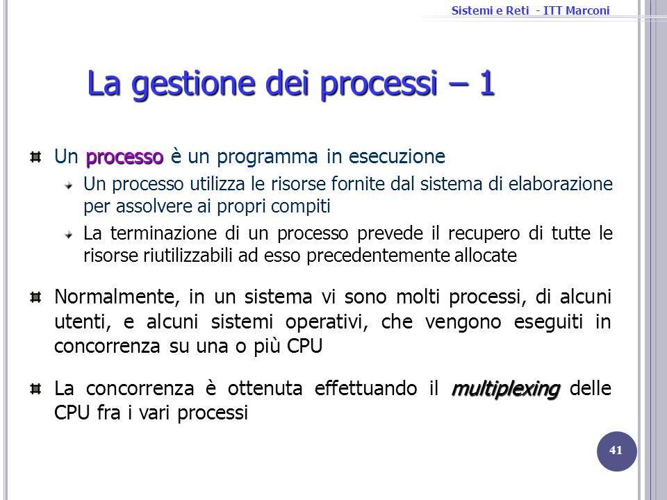 Sistemi e Reti - ITT Marconi processo Un processo è un programma in esecuzione Un processo utilizza le risorse fornite dal sistema di elaborazione per