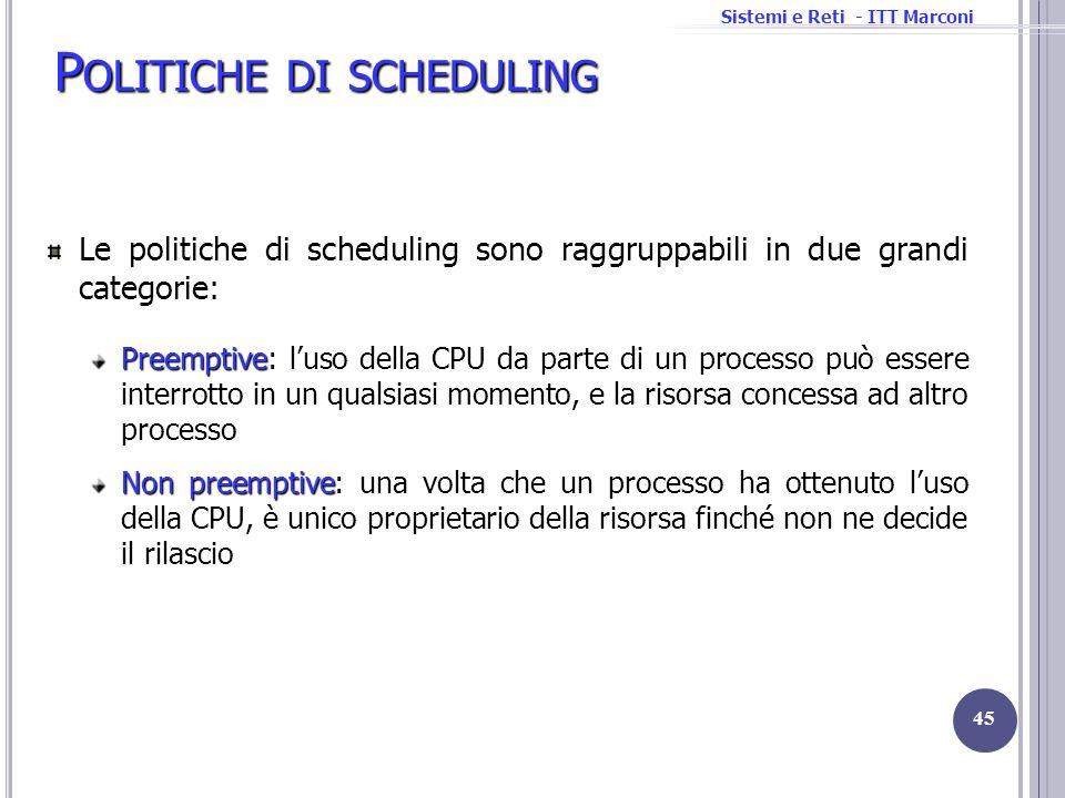 Sistemi e Reti - ITT Marconi P OLITICHE DI SCHEDULING Le politiche di scheduling sono raggruppabili in due grandi categorie: Preemptive Preemptive: lu