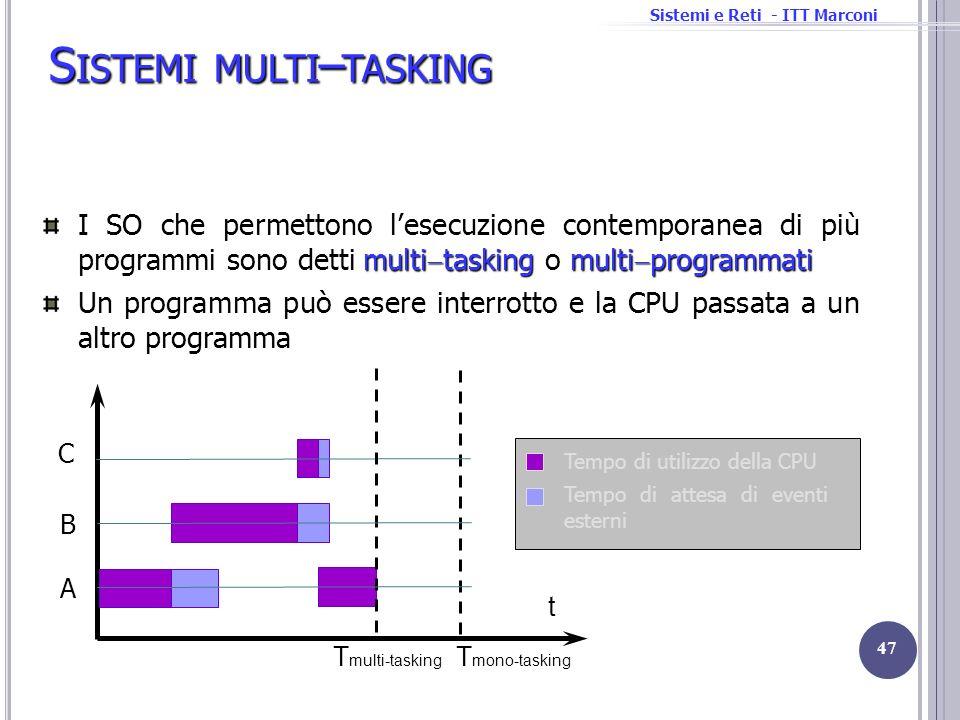 Sistemi e Reti - ITT Marconi S ISTEMI MULTI – TASKING 47 multi tasking multi programmati I SO che permettono lesecuzione contemporanea di più programm