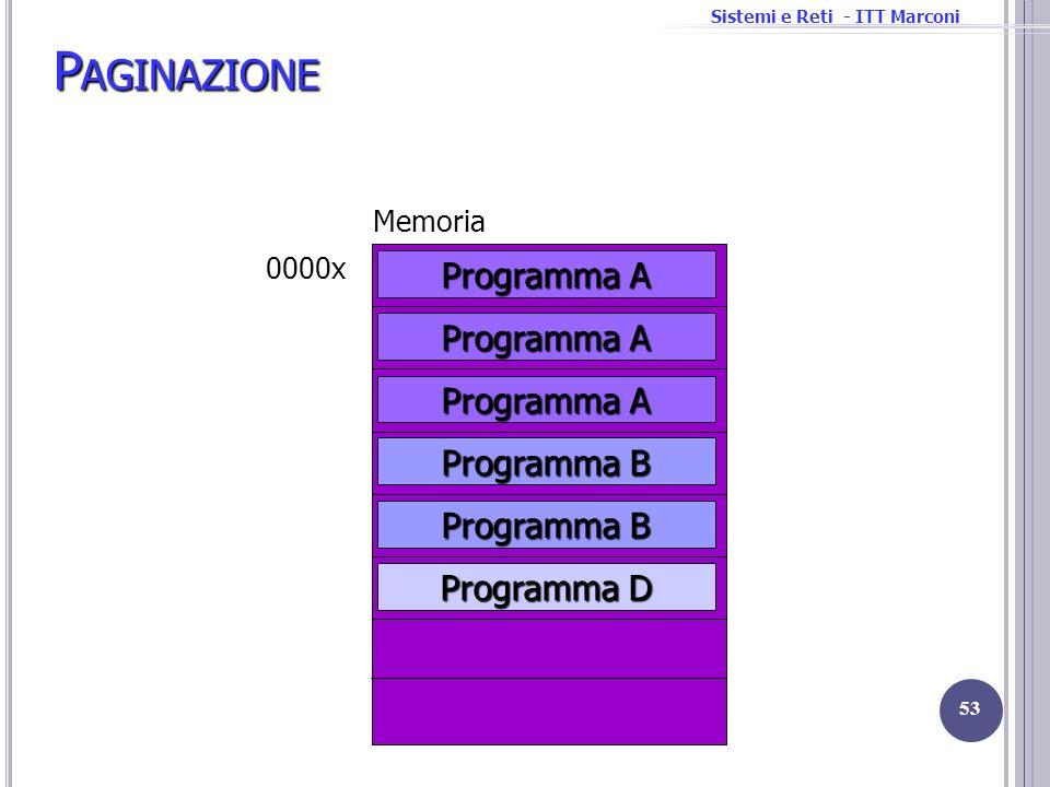 Sistemi e Reti - ITT Marconi Memoria 0000x P AGINAZIONE 53 Programma D Programma A Programma B