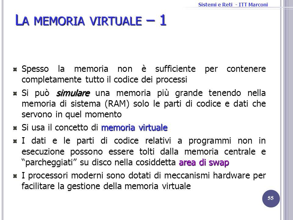 Sistemi e Reti - ITT Marconi L A MEMORIA VIRTUALE – 1 Spesso la memoria non è sufficiente per contenere completamente tutto il codice dei processi sim