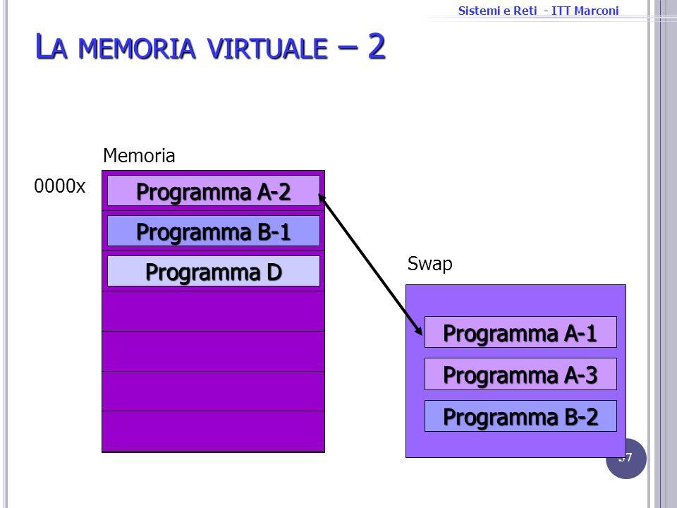 Sistemi e Reti - ITT Marconi L A MEMORIA VIRTUALE – 2 57 Programma D Memoria 0000x Programma A-2 Programma B-1 Programma A-1 Programma A-3 Programma B
