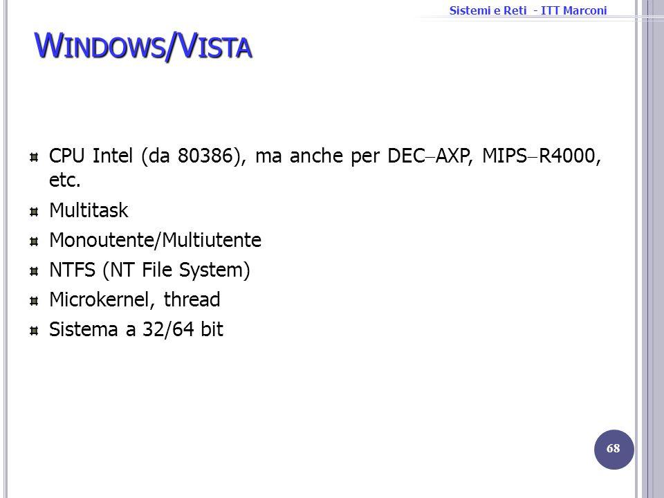 Sistemi e Reti - ITT Marconi W INDOWS /V ISTA CPU Intel (da 80386), ma anche per DEC AXP, MIPS R4000, etc. Multitask Monoutente/Multiutente NTFS (NT F