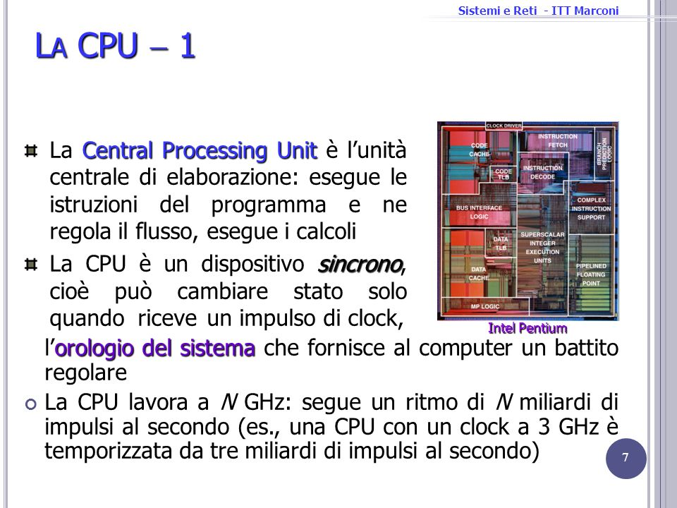 Sistemi e Reti - ITT Marconi L A CPU 1 orologio del sistema lorologio del sistema che fornisce al computer un battito regolare La CPU lavora a N GHz: