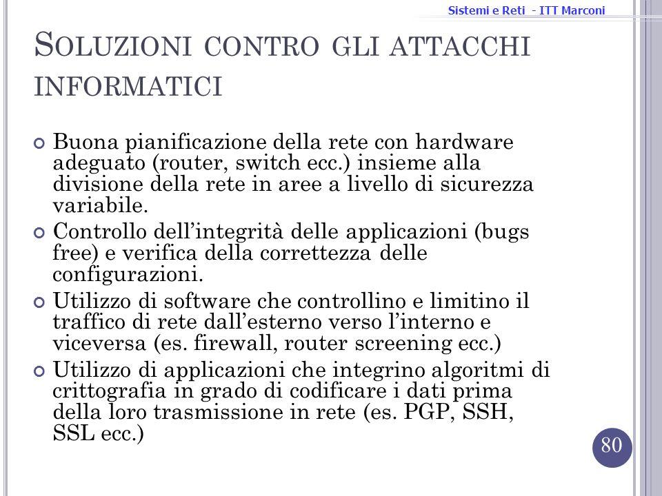 Sistemi e Reti - ITT Marconi S OLUZIONI CONTRO GLI ATTACCHI INFORMATICI Buona pianificazione della rete con hardware adeguato (router, switch ecc.) in