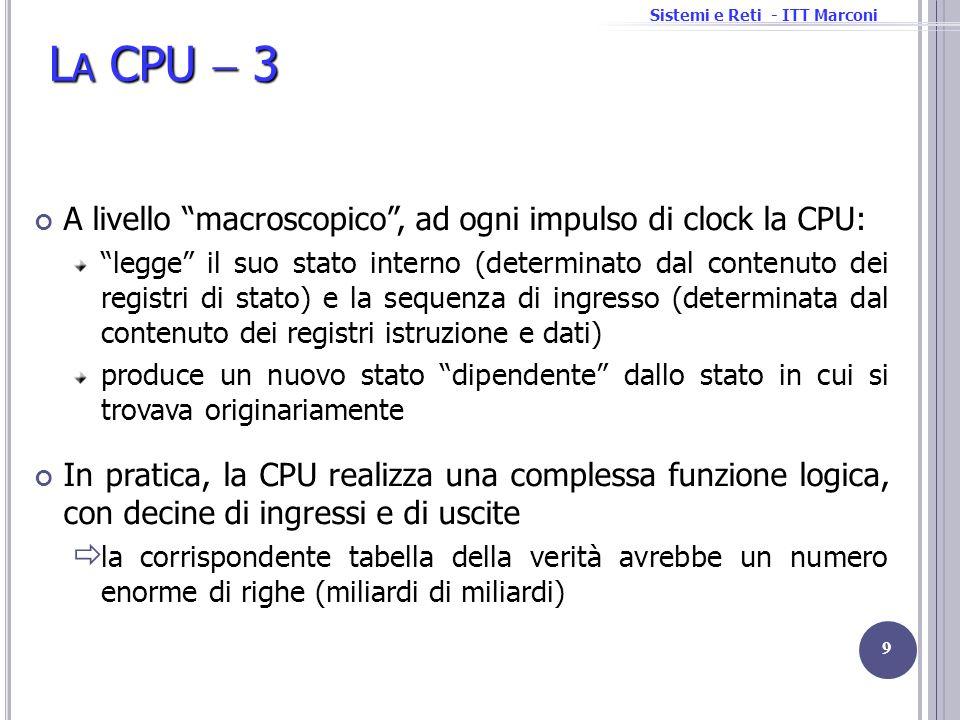 Sistemi e Reti - ITT Marconi L A CPU 3 A livello macroscopico, ad ogni impulso di clock la CPU: legge il suo stato interno (determinato dal contenuto