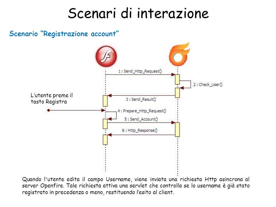 Scenari di interazione Scenario Registrazione account Lutente preme il tasto Registra Quando l utente edita il campo Username, viene inviata una richiesta Http asincrona al server Openfire.