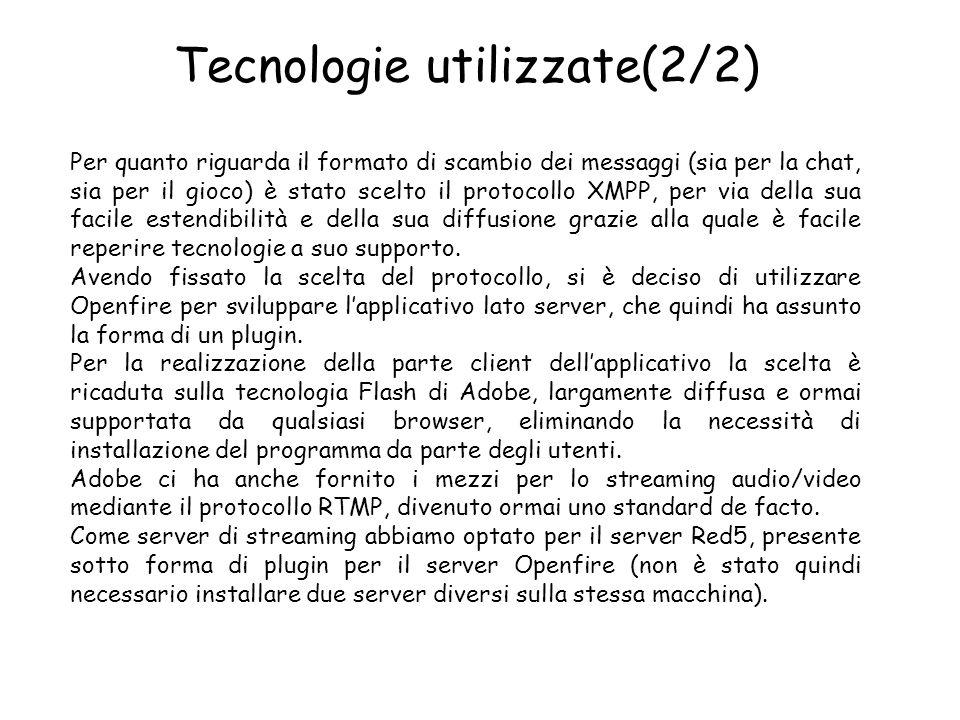 Tecnologie utilizzate(2/2) Per quanto riguarda il formato di scambio dei messaggi (sia per la chat, sia per il gioco) è stato scelto il protocollo XMPP, per via della sua facile estendibilità e della sua diffusione grazie alla quale è facile reperire tecnologie a suo supporto.