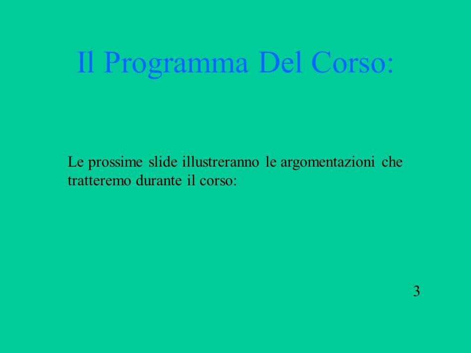 Il Programma Del Corso: Le prossime slide illustreranno le argomentazioni che tratteremo durante il corso: 3