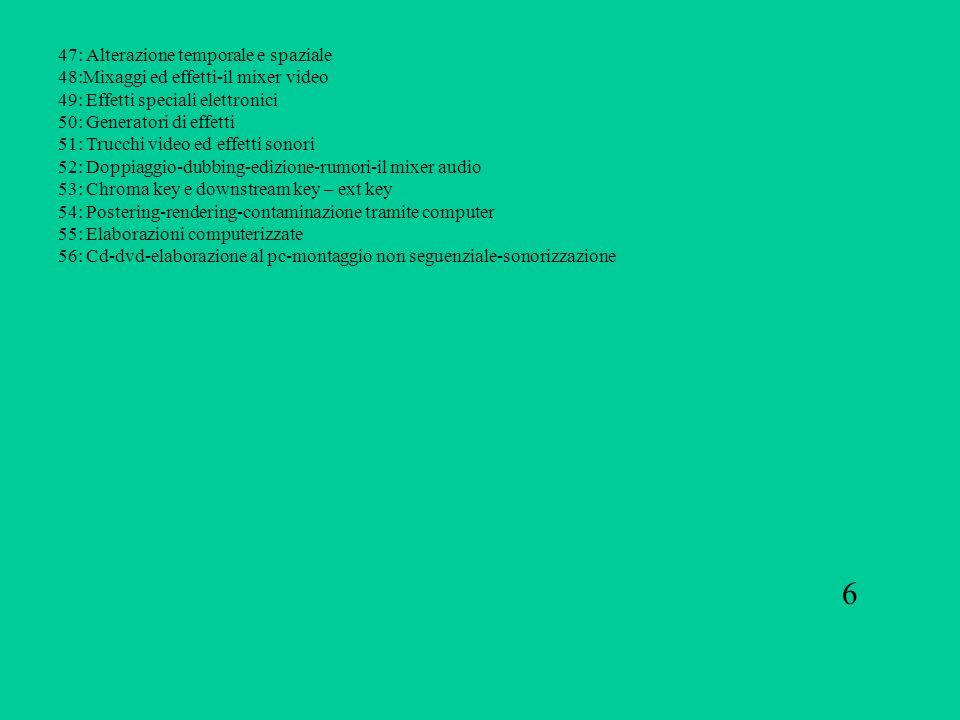 47: Alterazione temporale e spaziale 48:Mixaggi ed effetti-il mixer video 49: Effetti speciali elettronici 50: Generatori di effetti 51: Trucchi video
