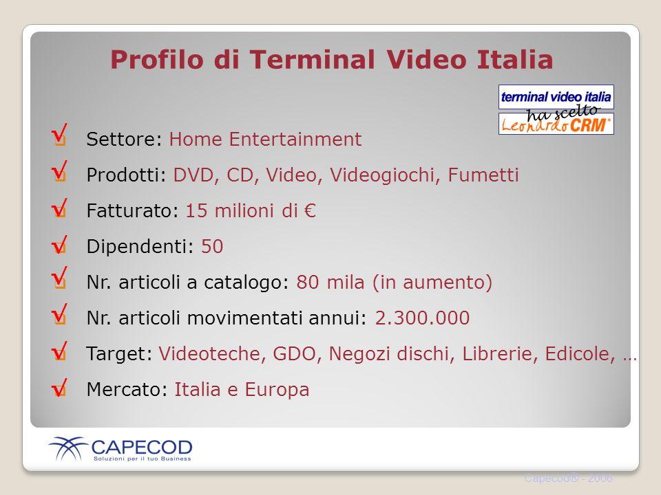 Capecod ® - 2006 Settore: Home Entertainment Prodotti: DVD, CD, Video, Videogiochi, Fumetti Fatturato: 15 milioni di Dipendenti: 50 Nr.