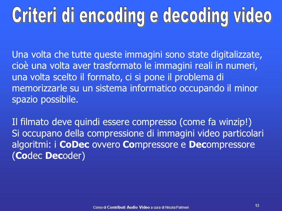 Corso di Contributi Audio Video a cura di Nicola Palmeri 12 Dentro il nostro computer in che modo vengono memorizzati i fotogrammi relativi al video a