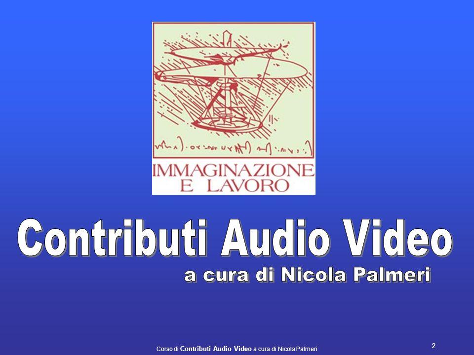 Corso di Contributi Audio Video a cura di Nicola Palmeri 12 Dentro il nostro computer in che modo vengono memorizzati i fotogrammi relativi al video acquisto.