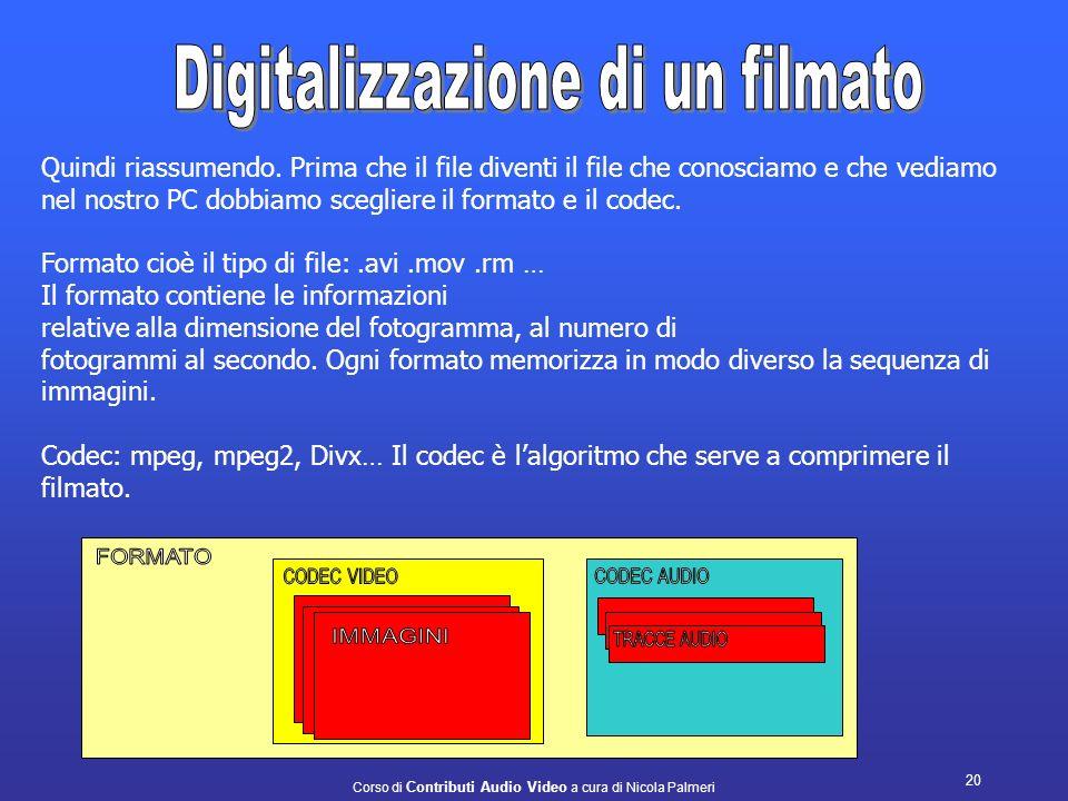 Corso di Contributi Audio Video a cura di Nicola Palmeri 19 NOMECARATTERISTICA MPEG MPEG2Codec di compressione con alte prestazioni. E il codec usato