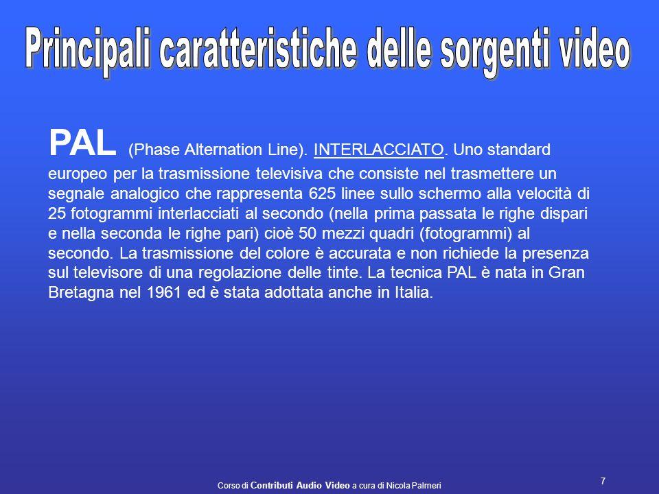 Corso di Contributi Audio Video a cura di Nicola Palmeri 7 PAL (Phase Alternation Line).